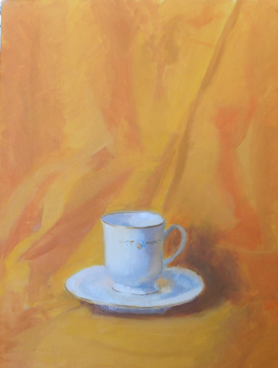 THE TEA CUP oil on canvas 8x10