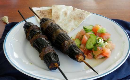 MEDITERRANEAN EGGPLANT ON A STICK.