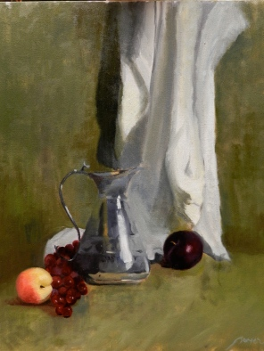 SILVER PITCHER AND FRUITS